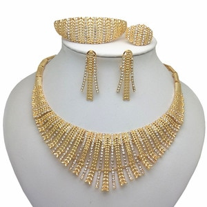 Kingdom Ma Wholesale African Costume Gold Color Zinc Alloy Jewelry Set Nigerian Wedding Imitate Crystal Big Jewelry Sets