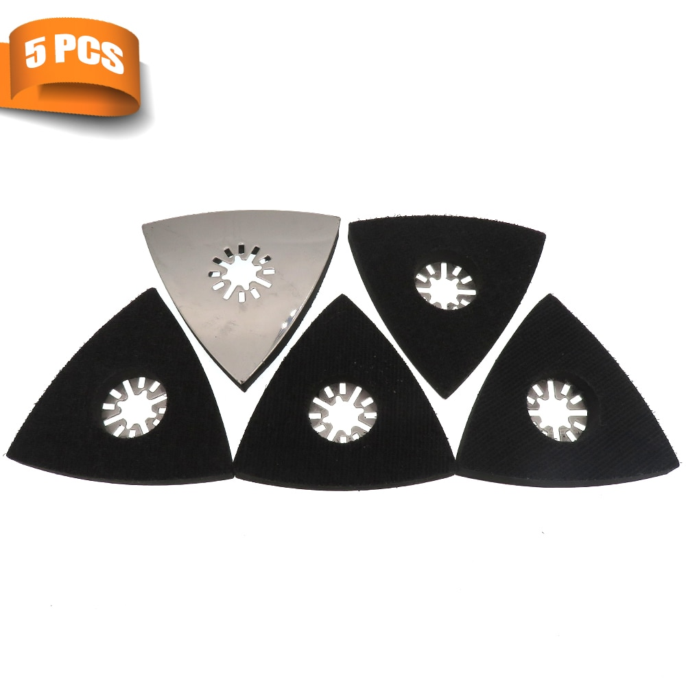 Triangular Sanding Pads for Oscillating Multi tool Hook & Loop Sandpaper Sanding Disc- 5 Pack