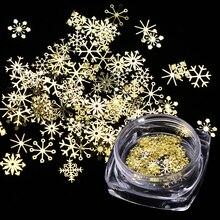 1 коробка, блестки для ногтей, рождественские Золотые снежинки, блестки для нейл Арта (искусство украшения ногтей), порошок, пыль, хлопья, 3D Очаровательное украшение, УФ Гель-лак, советы JI889