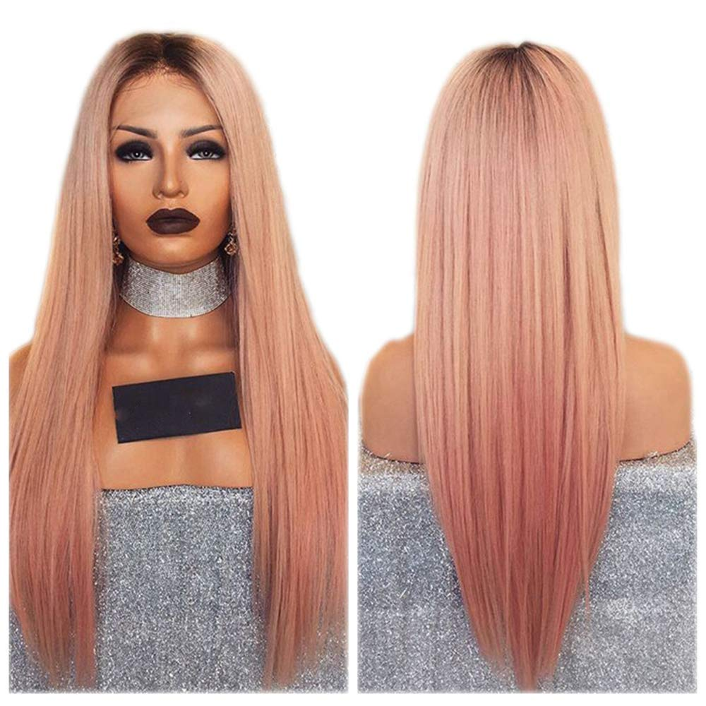 DLME Long Straight Pink Wig Heat Resistant Hair Pink Lace Front Wig For Black Women