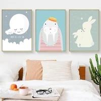 Affiche sur toile avec Animal de dessin anime mignon  toile nordique  peinture murale imprimee  toile de fond pour salon  chambre denfant