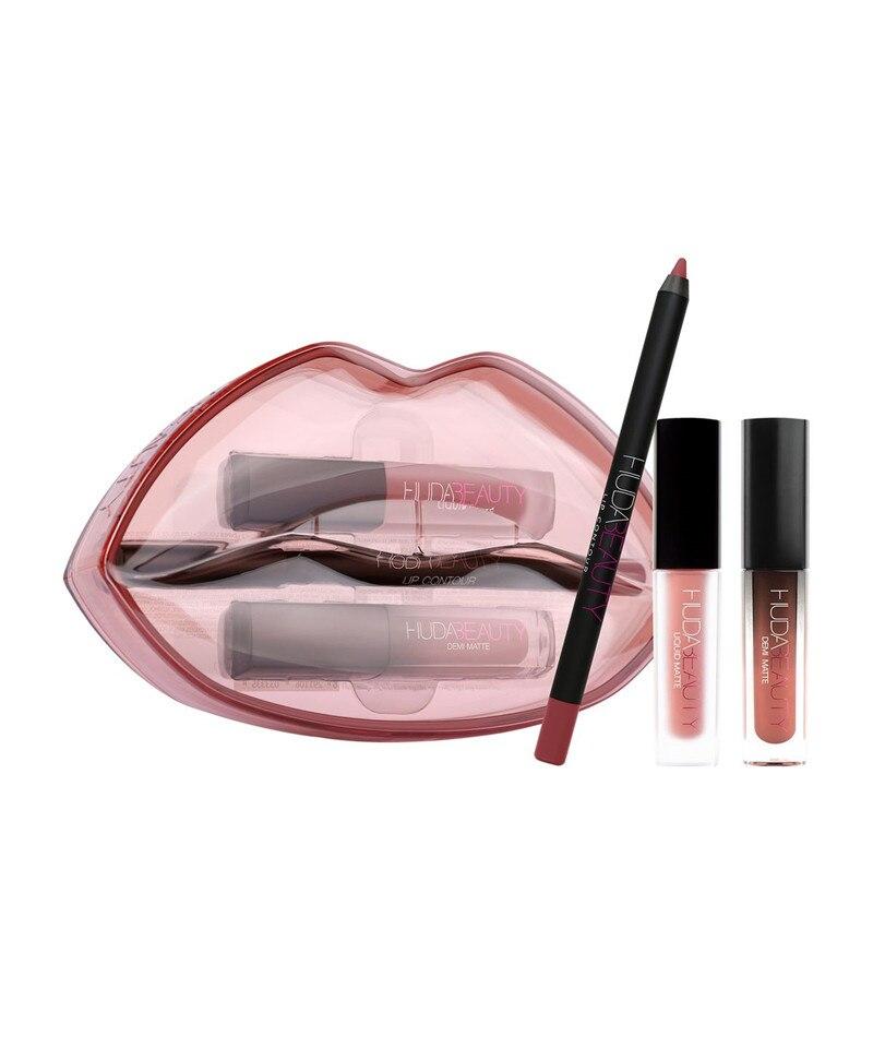 2020 HUDAS belleza maquillaje labial brillo nuda belleza paleta de brillos mismo color con Hudas mate diamante crema labios Set