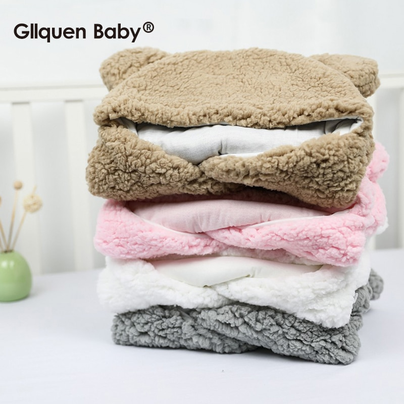 Baby Plush Sleeping Bag Newborn Cute Soft Sleeping Wrap Swaddle Baby Cute Receiving Blanket Sleeping Bag Sleep Sack (0-6 Month)