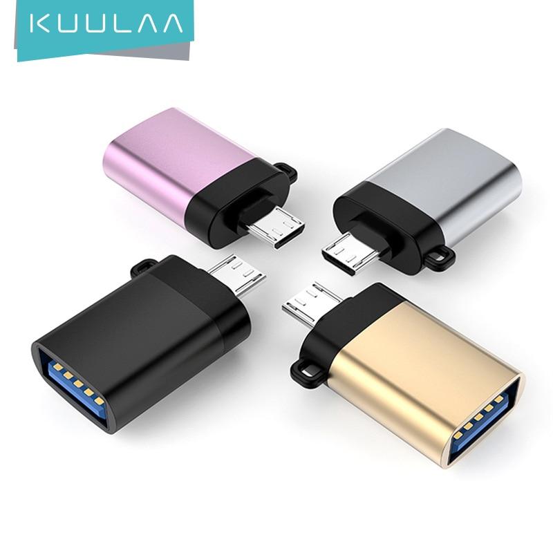 KUULAA Adaptador Micro USB OTG Para USB 3.0 Macho para Fêmea Cabos Conversores Para Samsung Xiaomi Huawei LG Sony OTG adaptador USB Micro