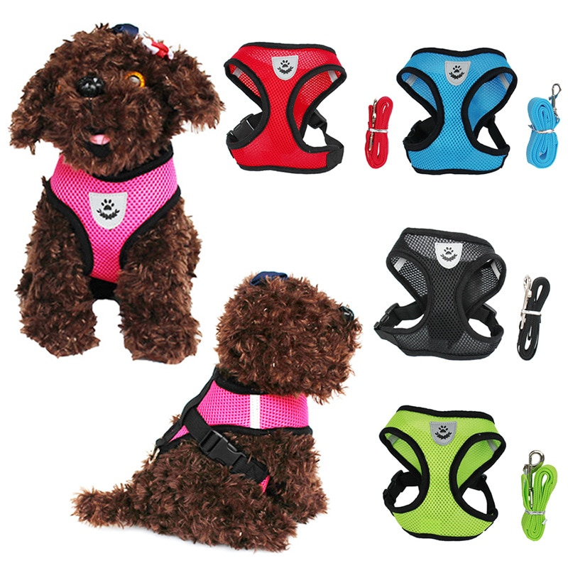 Adjustable Cat Dog Harness Vest Walking Lead Leash For Puppy Dogs Collar Polyester Mesh Harness For Small Medium Dog Cat Pet