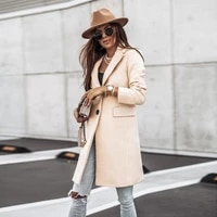 winter women woolen trench coat simple long sleeved buttons woolen coat single breasted long overcoat fashion solid all match