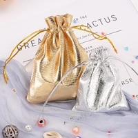 25pcs gold silver opp bags jewellry bag drawstring organza jewelry organizer pouch jewelry packaging display jewelry pouches