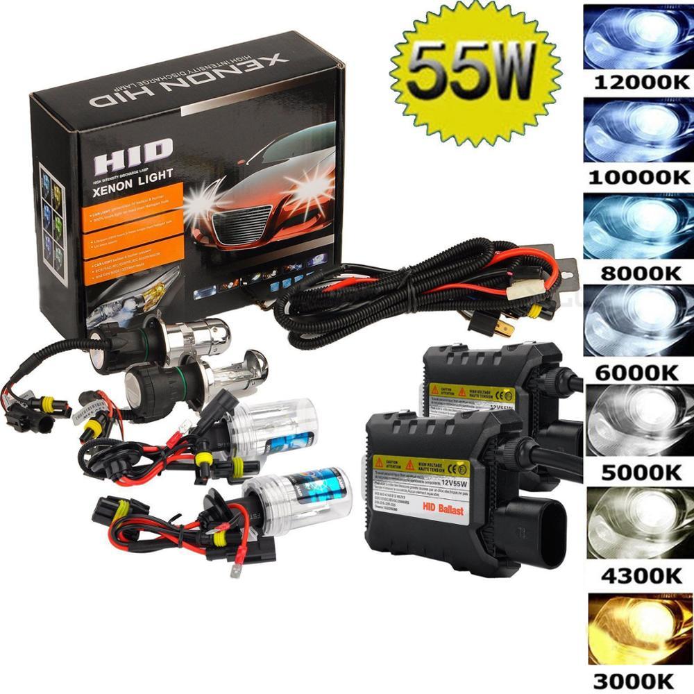 55W Kit Xenon Hid H1 H3 H4 H8 H7 H11 9005 9006 880/1 H13 Fonte Da Lâmpada Do Farol Do Carro Farol 3000K 4300k 6000k 8000k 12000K Lâmpadas