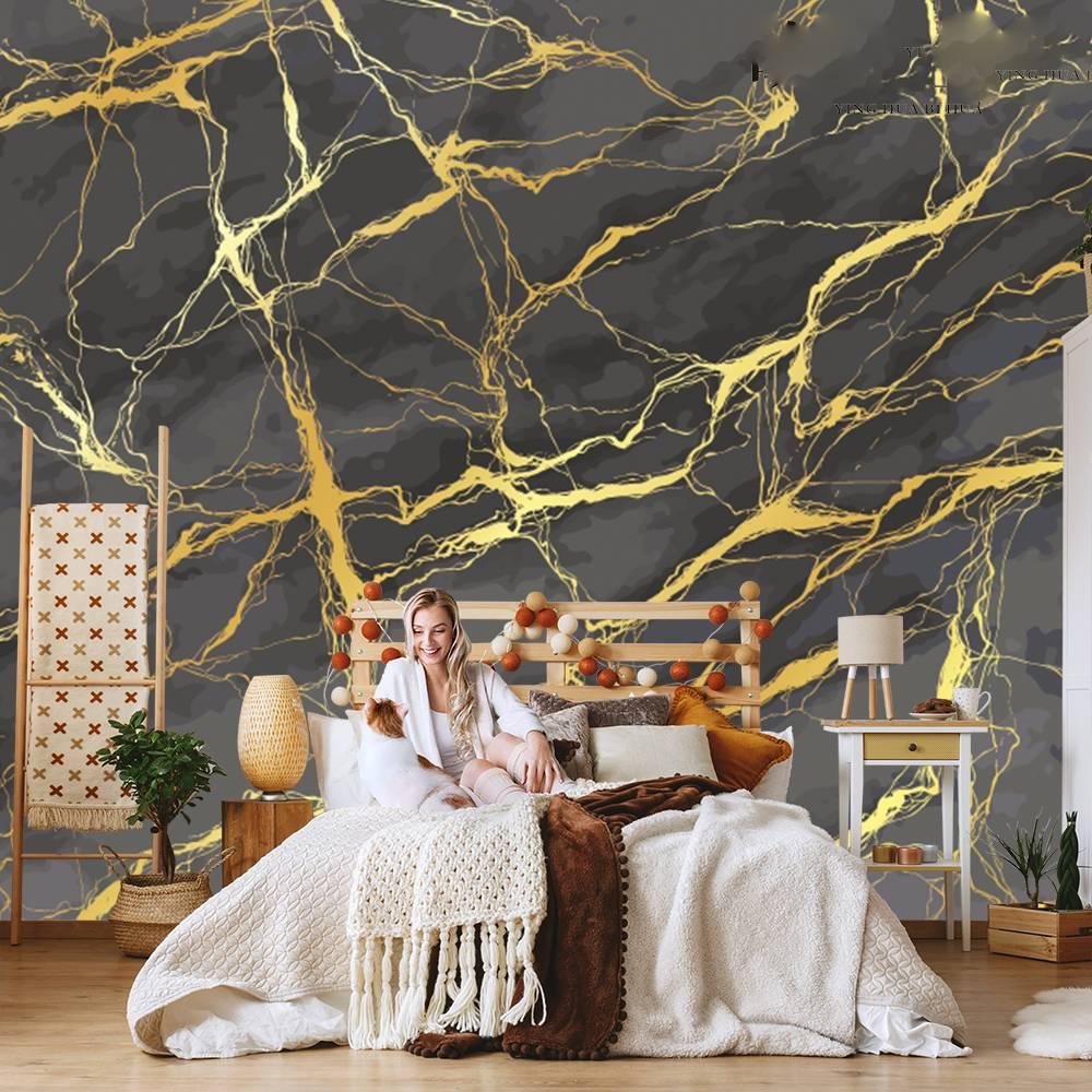 Настенные 3D-обои с абстрактным рисунком, роскошный золотой фон для телевизора, настенный интерьер, дизайн для гостиной, спальни