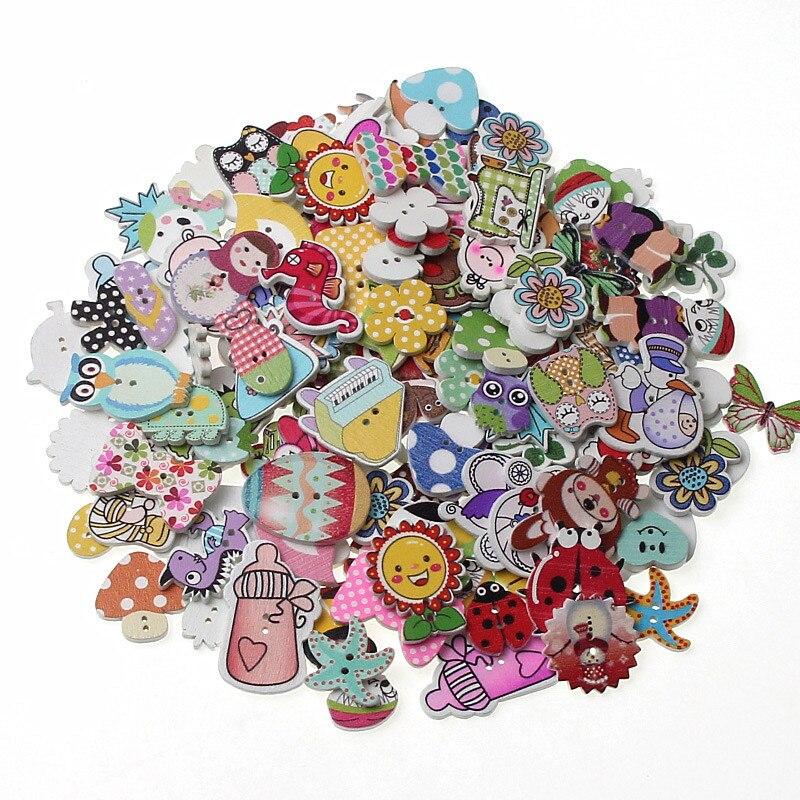 50 pçs misturados botão de madeira scrapbooking roupas botões para diy artesanato acessórios de costura botões decorativos