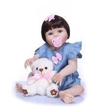 55cm Full Silicone Reborn Boneca Realista Fashion Baby Dolls for Girl Children Birthday Gift Bebes Reborn Boneca Doll