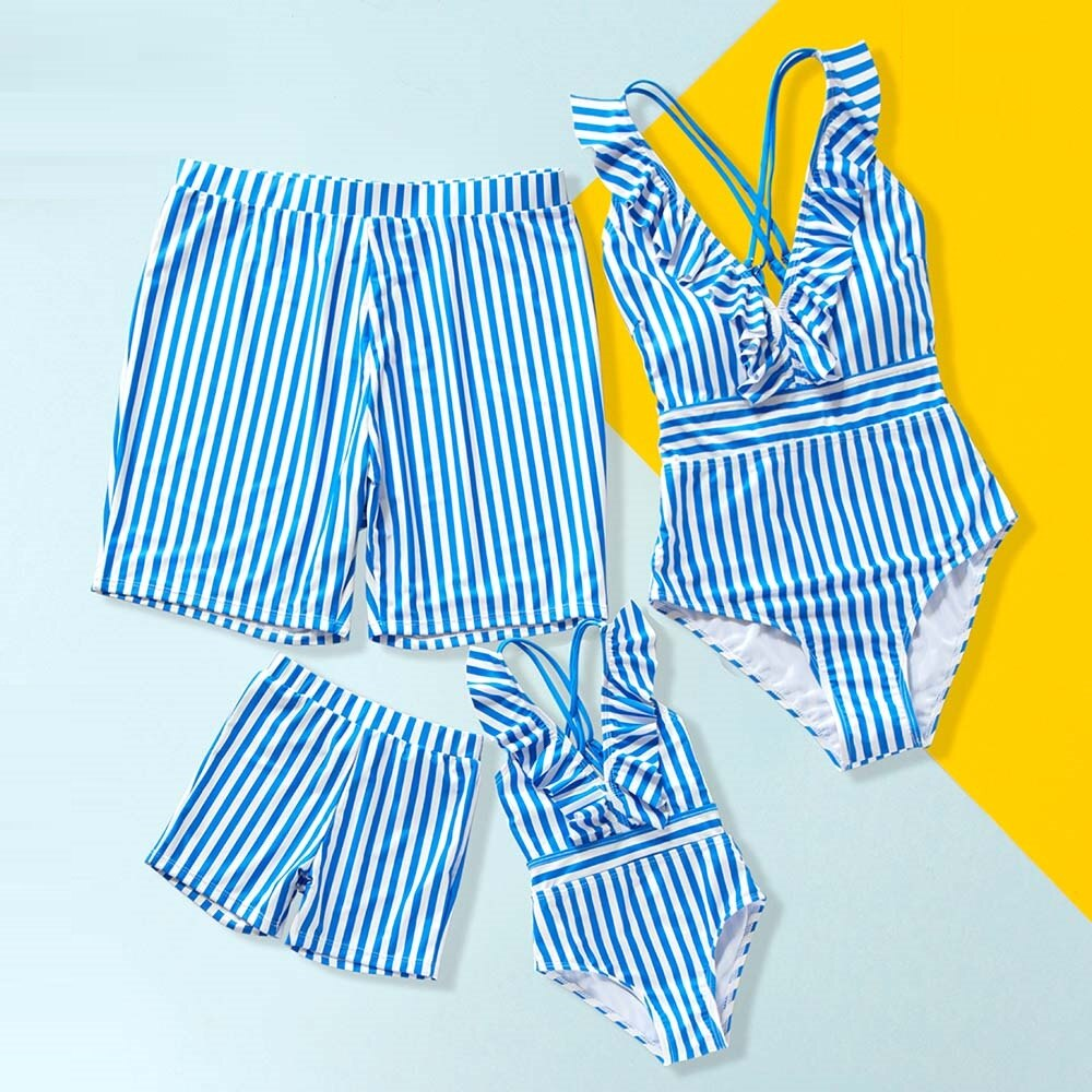 Striped Matching Family Swimsuits One-Piece Mother Daughter Swimwear Mommy and Me Bikini Dresses Clothes Father Son Swim Shorts