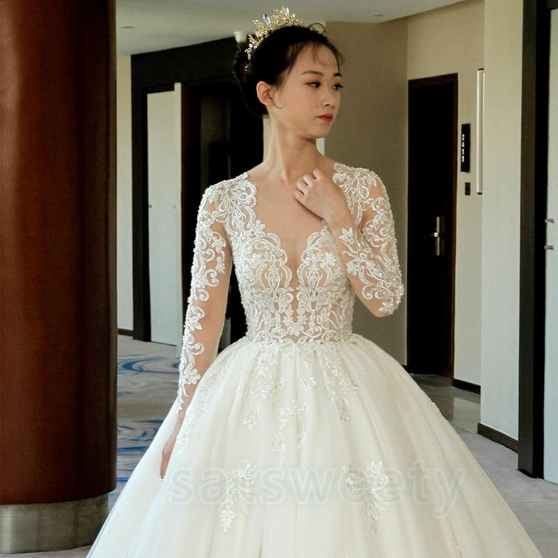 Vestido de casamento mangas largas nupciales Vestido 2020 de encaje con cuello en V vestidos de boda románticos vestido de novia Vestido de boda