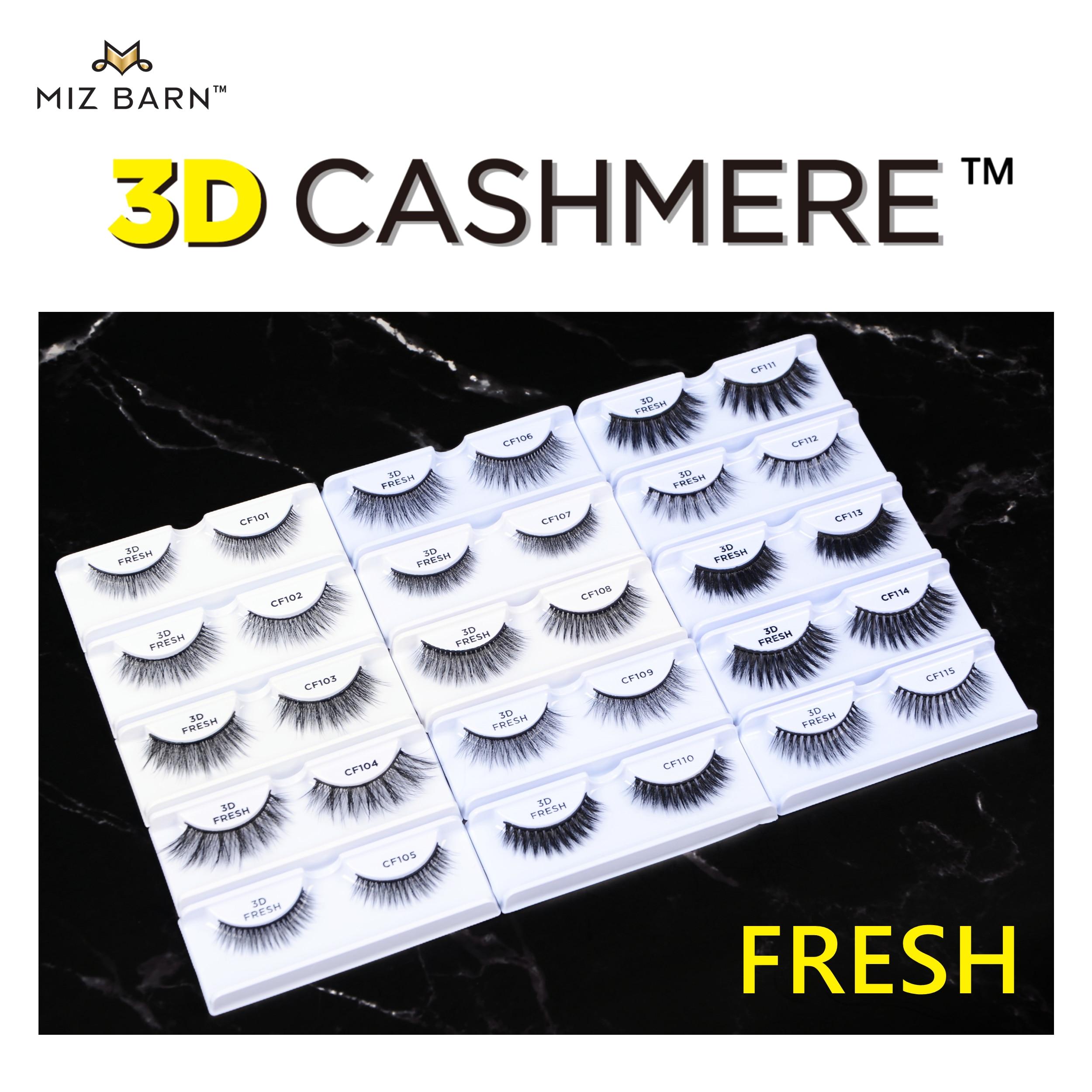 MIZ BARN 3D CASHMERE-FRESH Eyelashes Natural Soft Eye Makeup Lashes Volume Fluffy Handmade Faux Mink