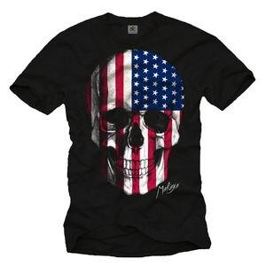 USA FLAG MEN SHIRT WHIT AMERICA SKULL DESIGN - SHORT SLEEVE TEE