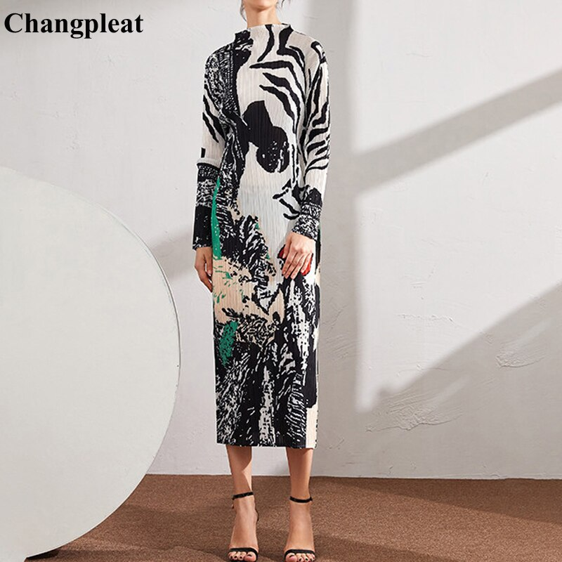 Changpleat-فستان عتيق بطيات ، ربيع 2020 ، فستان نسائي جديد بطباعة عتيقة ، موضة Miyak ، نحيف ، نصف مرتفع ، ياقة ، أسفل ، أكمام طويلة ، D9
