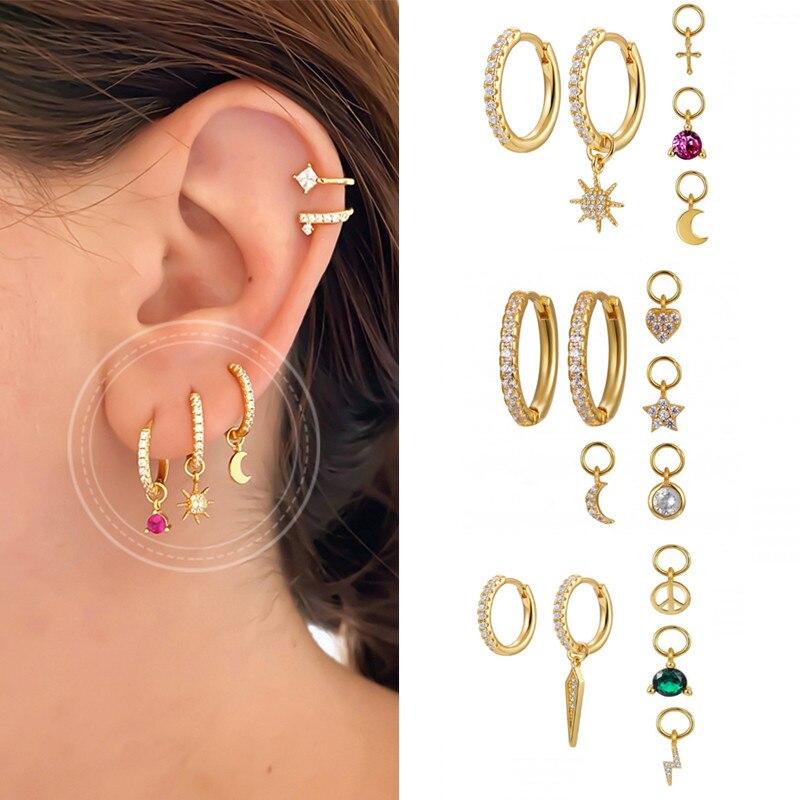 AliExpress - ROMAD Minimalist Hoop Earrings For Women Green Star Moon Zircon Ear Ring 925 Sterling Silver Earrings Jewelry Aretes De Mujer