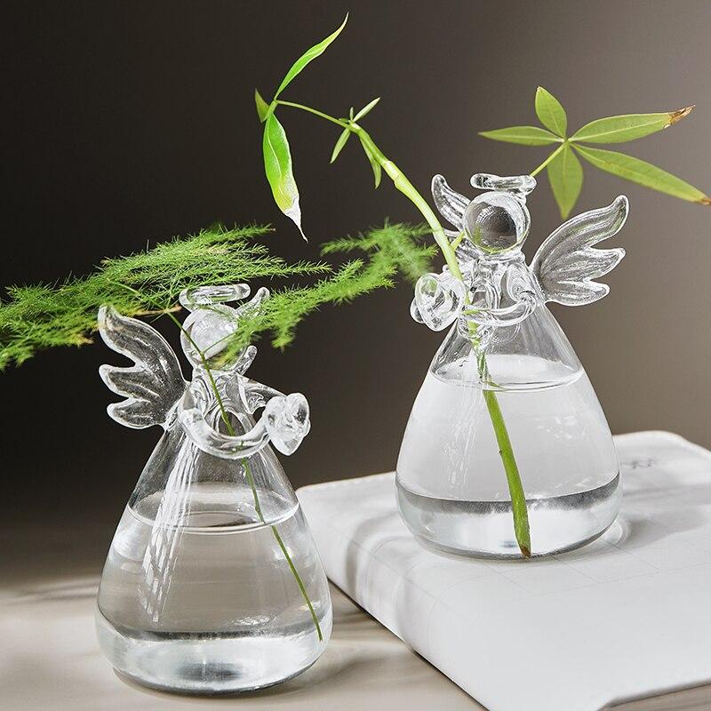 Florero de cristal con diseño de pequeños ángeles de estilo nórdico transparente para escritorio