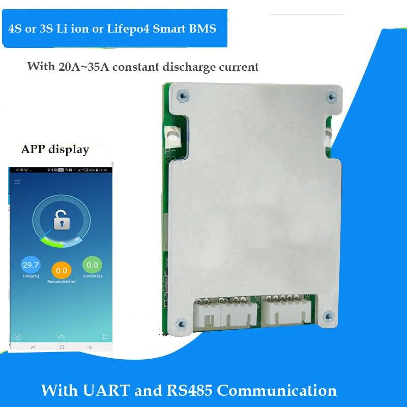 3S 12,6 V o 4S 16,8 V Li-ion de 14,6 v o Lifepo4 12V 12V batería Bluetooth inteligente BMS con RS485 y UART