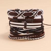 ajc leather suit bracelet men accessories punk splice color retro weaving leather bracelet diy suit bracelet