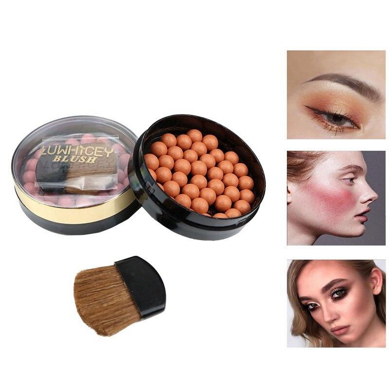 Bola de colorete mate 3 en 1 rubor para rostro maquillaje sombra de ojos bolas de polvo cosmético contorno 8 colores colorete opcional