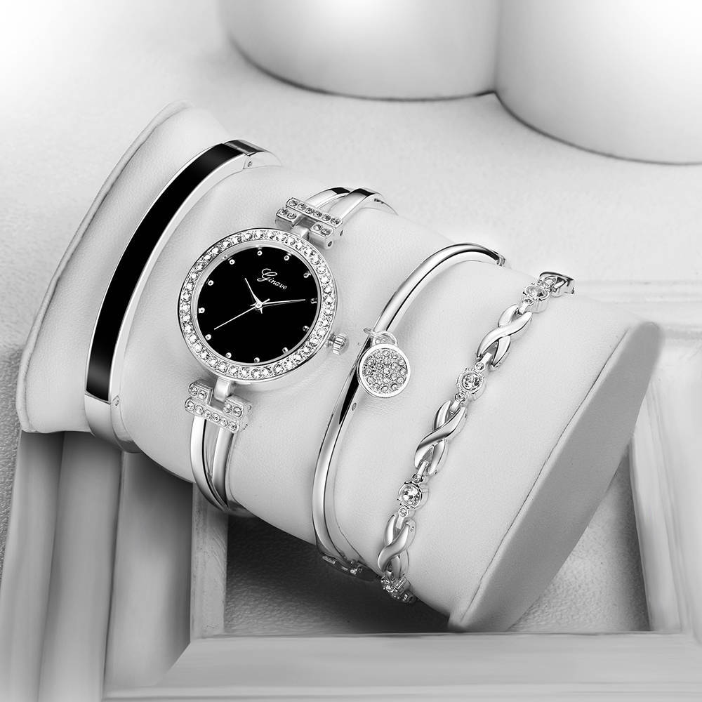 Europe's most popular luxury business diamond bracelet four-piece suit women's watch fashion trend dress quartz ladies watch enlarge