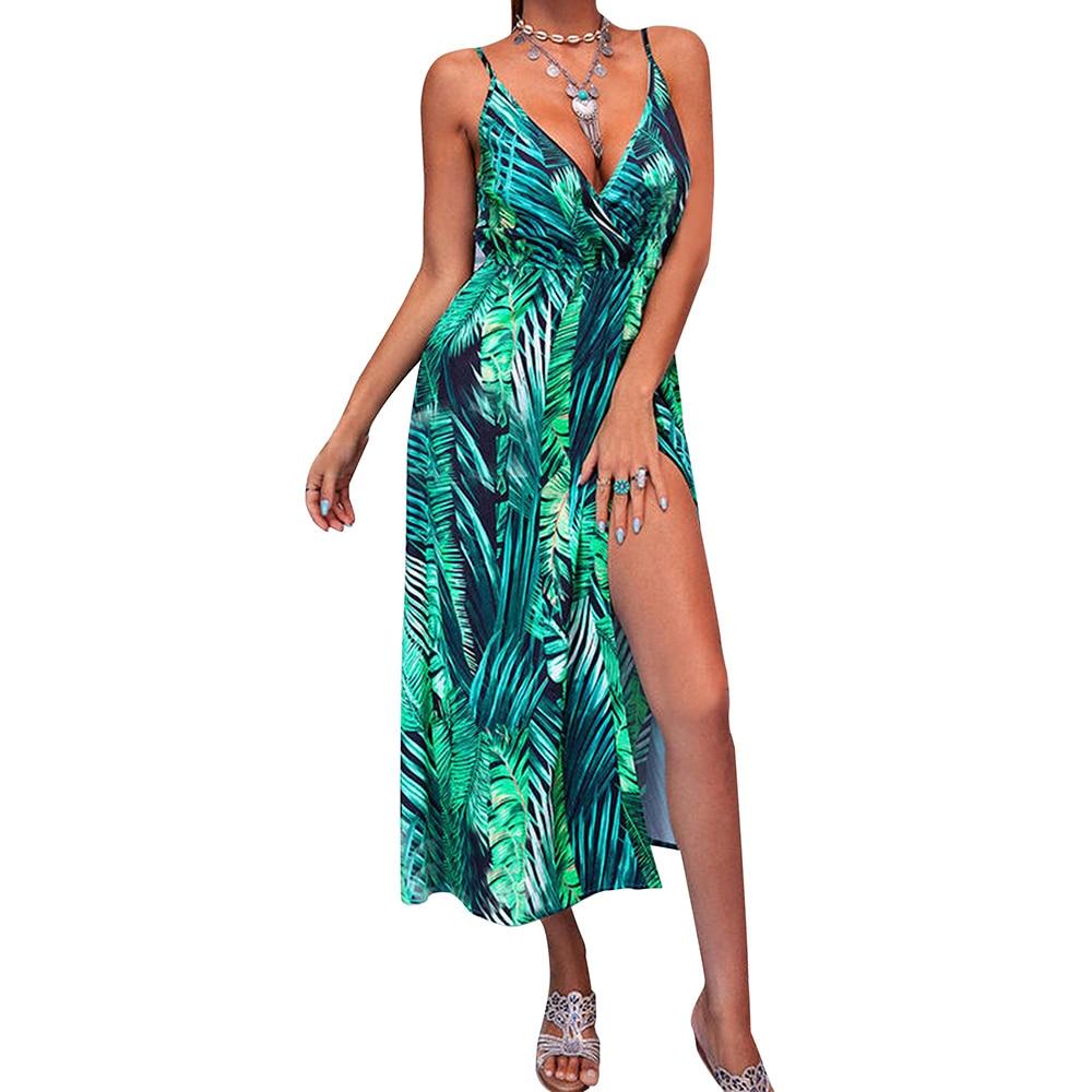 Bohemian Women Plu Size Maxi Dress Sleeveless V Neck Print Slit Hem Long Dress Femme Summer Elegant Party Dresses Vestidos D30 2020 women fashion elegant summer round neck sleeveless sexy maxi dress colorful striped print side slit maxi dress