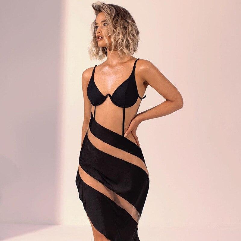 Seasons Asymmetrical Mesh Sheer Patchwork Mini Dress Women Sexy Bikini Straped Backless Clubwear Sum