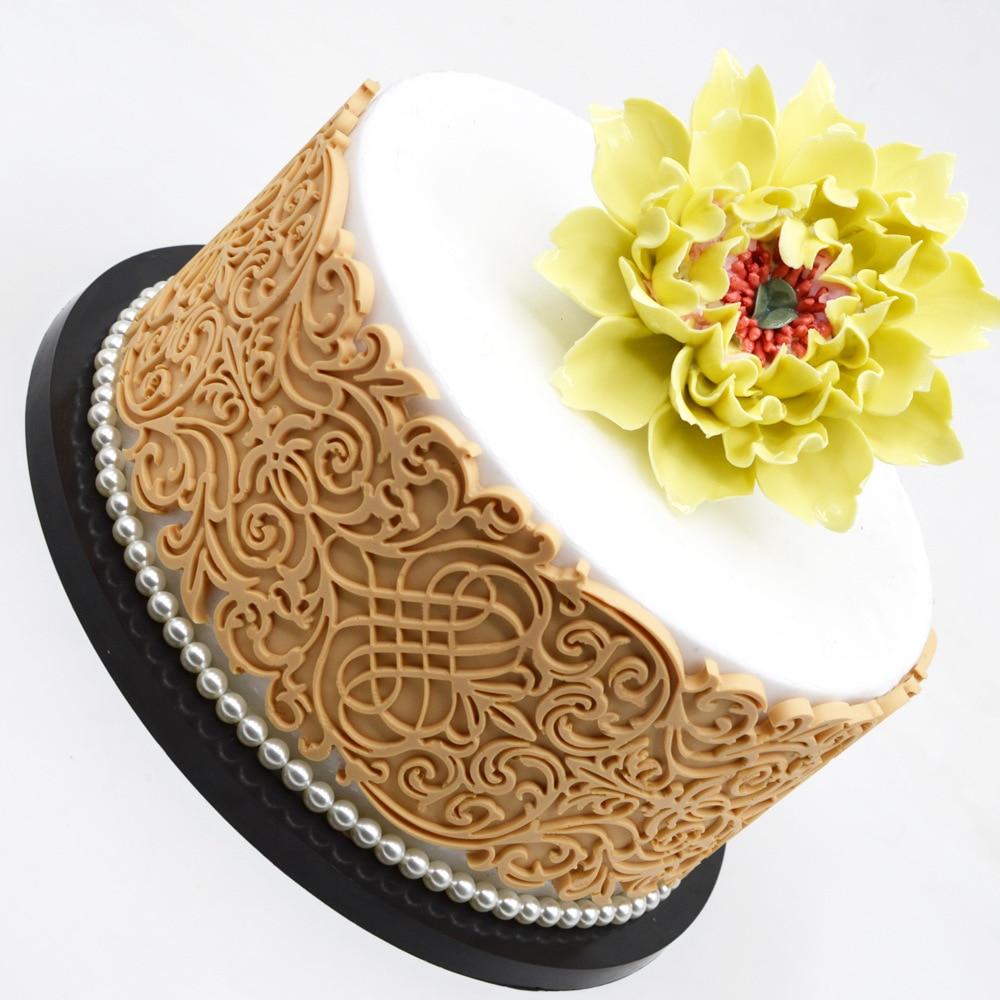 Embossment Figure Lace Mat Fondant Cake Silicone Mold Cake Decorating Tools Birthday Wedding Decoration DIY Baking Tools