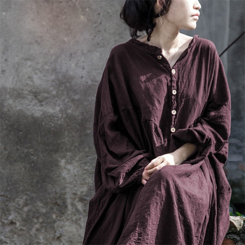 فستان طويل مطوي عتيق ، فستان ريترو غير رسمي بأكمام فانوس ، ربيع-خريف