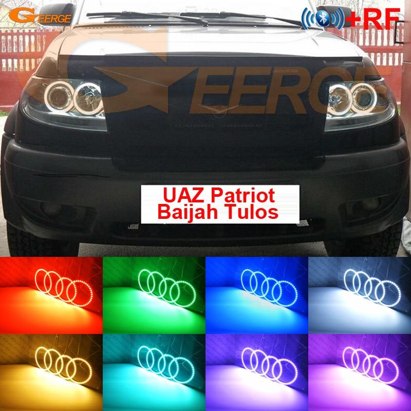 For UAZ Patriot Baijah Tulos 2007-2014 Excellent RF remote Bluetooth APP Multi-Color Ultra bright RGB LED Angel Eyes kit