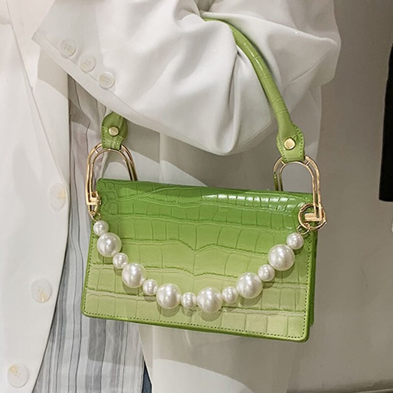 Stone Pattern Pearl Woman Tote New High Quality PU Leather Women's Designer Handbag Brand Shoulder M