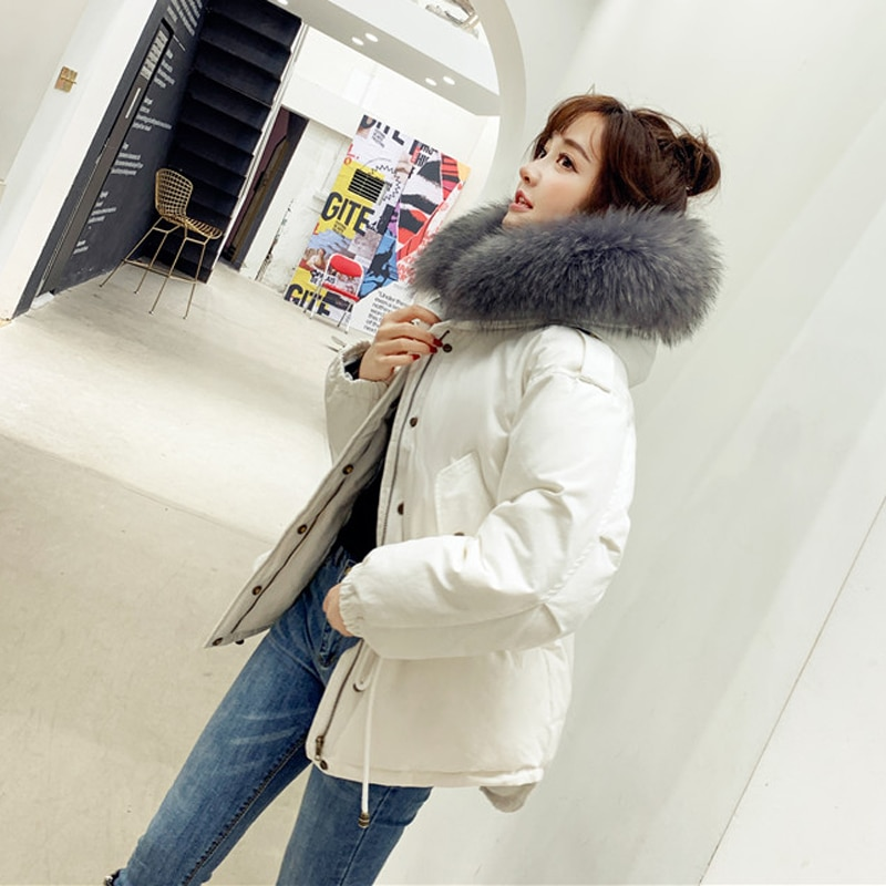 new 2021 large raccoon fur collar hooded high quality down coat for women ladies short design parkas white black army green pink