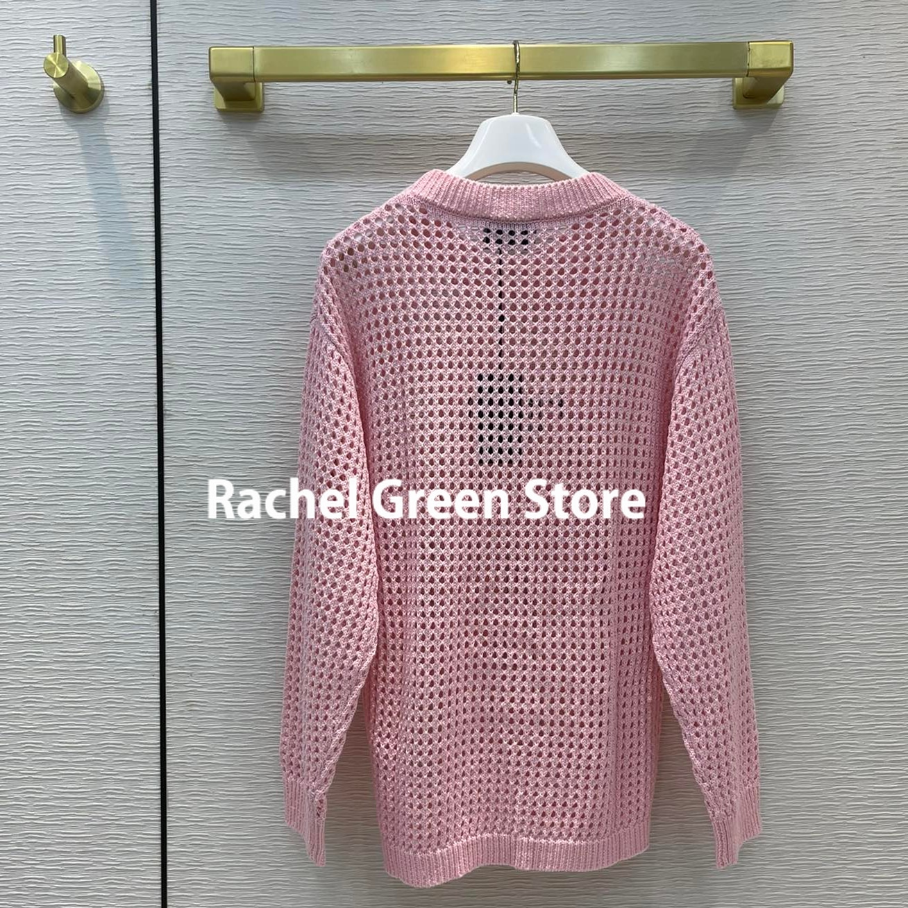 Luxury designer 2021 branded woman sweaters hollow out crochet letter logo triangle high end kntted long sleeve autumn sweater enlarge
