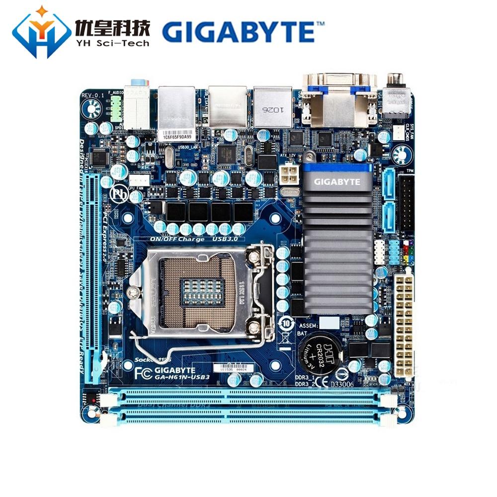 Gigabyte GA-H61N-USB3 Intel H61 оригинальная настольная материнская плата LGA 1155 Core i7/i5/i3/Pentium/Celeron DDR3 16G Mini-ITX