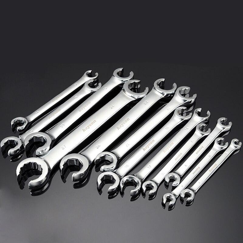 1 pieza 6*8-24*27mm llave de extremo abierto especial métrica de doble extremo llave de tuerca para tubo de aceite de Metal llave de tubo herramienta de reparación automática