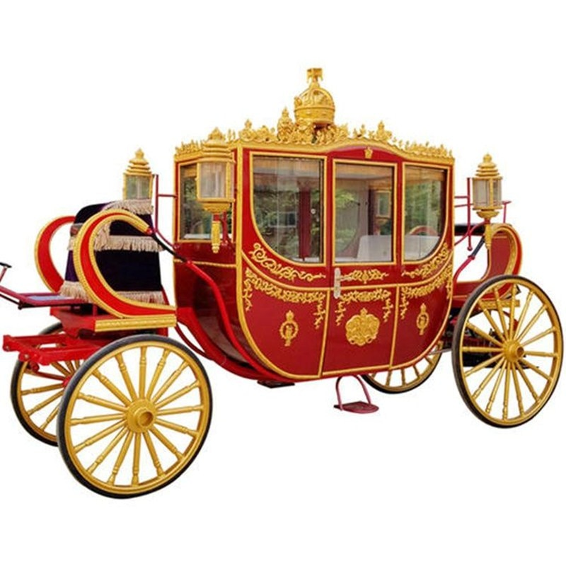 Royal Luxury Wedding Electric Double-row Horse Drawn Carriage Children Horse Carriage Trailer For Sale