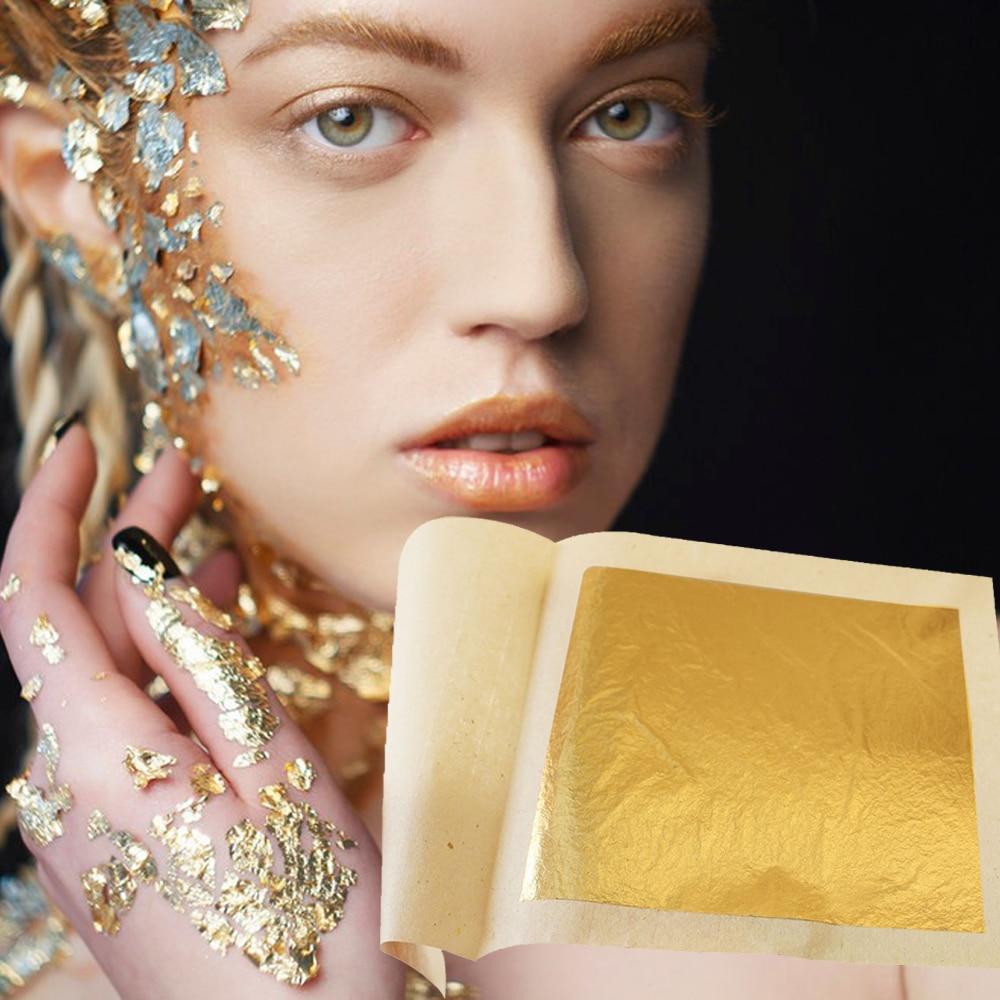 24K Gold Leaf Edible Gold Foil for Cake Decoration 100pcs 9.33x9.33cm Gilding Craft Paper Pure Gold Leaf Sheets enlarge