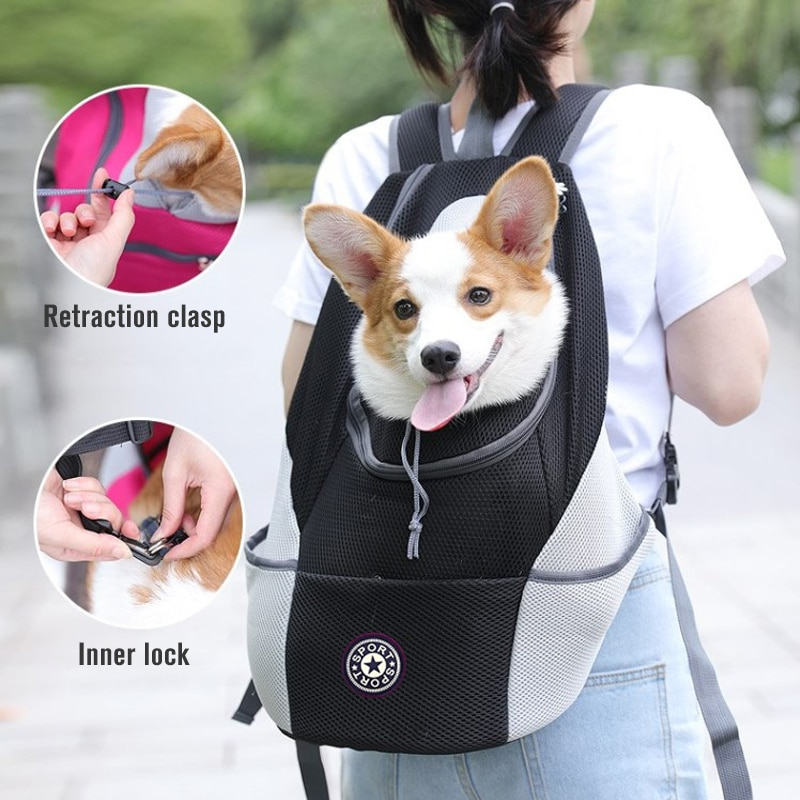 Pet Dog Carrier Bag For Dogs Out Double Shoulder Portable Travel Backpack Outdoor Mesh