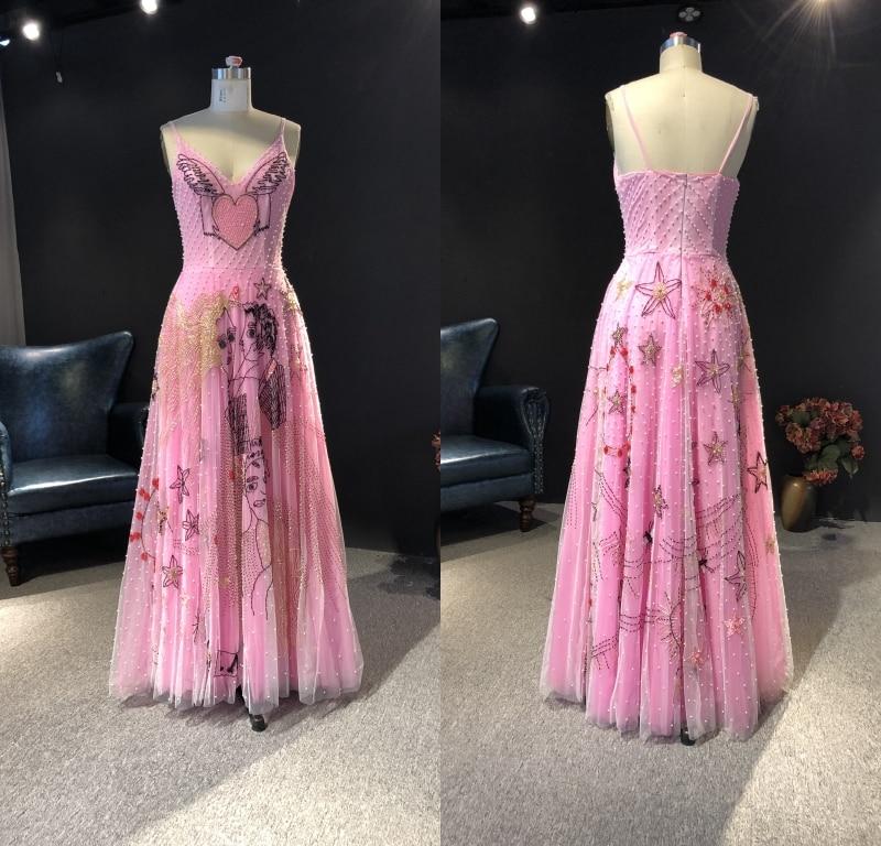 2021 вечерние платья Real Picture Rose Pink Heavy Beads V-neck A-line Floor-Length Prom Party Bridal Dancing Evening Dresses