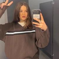striped knitted oversized y2k brown sweater female korean fashion 2020 v neck long sleeve blue jumper women warm autumn winter