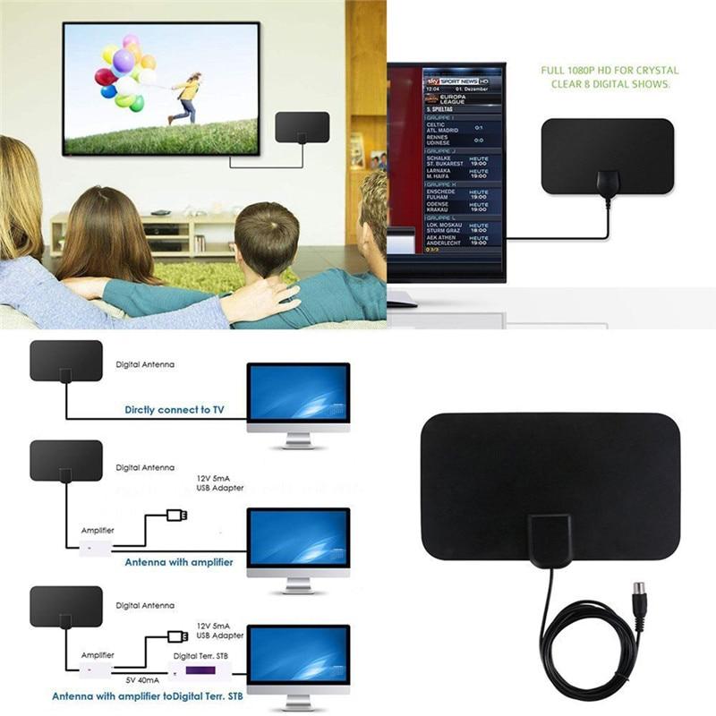 High Signal Capture Cable Signal Amplifie Antenna Digital Indoor Digital Freeview Range Ultra-thin Antena TV HDTV Antenna