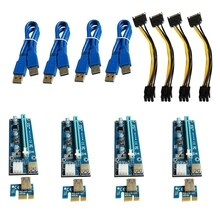 VER006C PCI-E Riser Card 006C PCI Express X1 to X16 Adapter 0.6M USB 3.0 Cable SATA 6Pin Power for M