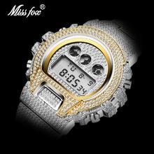 Dropshipping Original MISSFOX Digital Gshock Sport Watches For Men Led Alarm Clock Luminous Gold Diamond Wrist Watches For Men