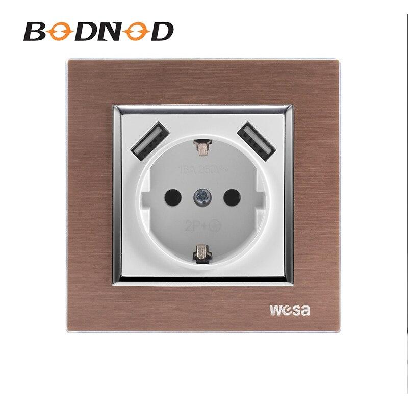 Enchufe USB One Gang con marco de Metal adaptador de pared estándar europeo 5v 2A conector de salida con Panel de Metal de aluminio a tierra