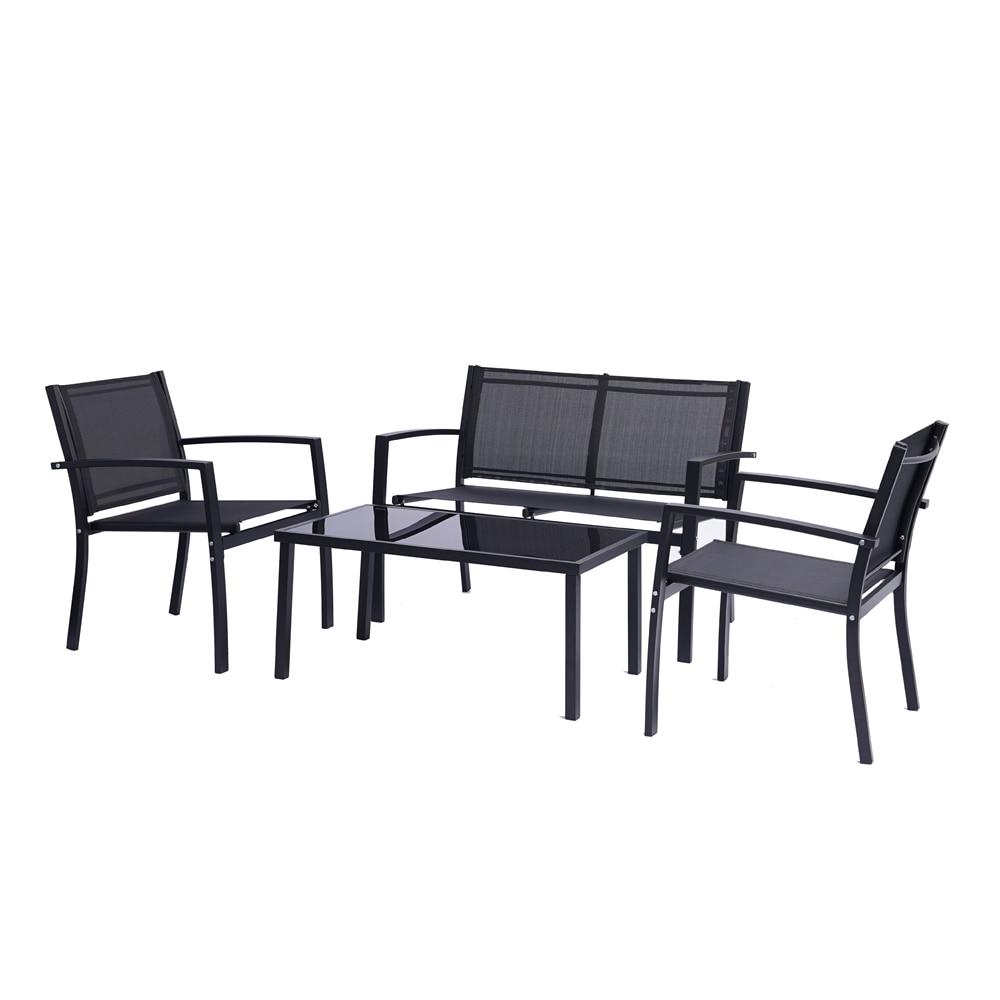 مجموعة أثاث الفناء ، 4 قطع ، كراسي الحديقة الخارجية ، الفناء والمحادثة ، أثاث حمام السباحة ، طاولة القهوة الزجاجية ، أثاث الشرفة