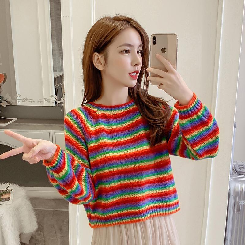 Primavera y otoño 2020 versión coreana del suéter de la raya del arco iris del viento flojo mujeres delgadas color de la personalidad