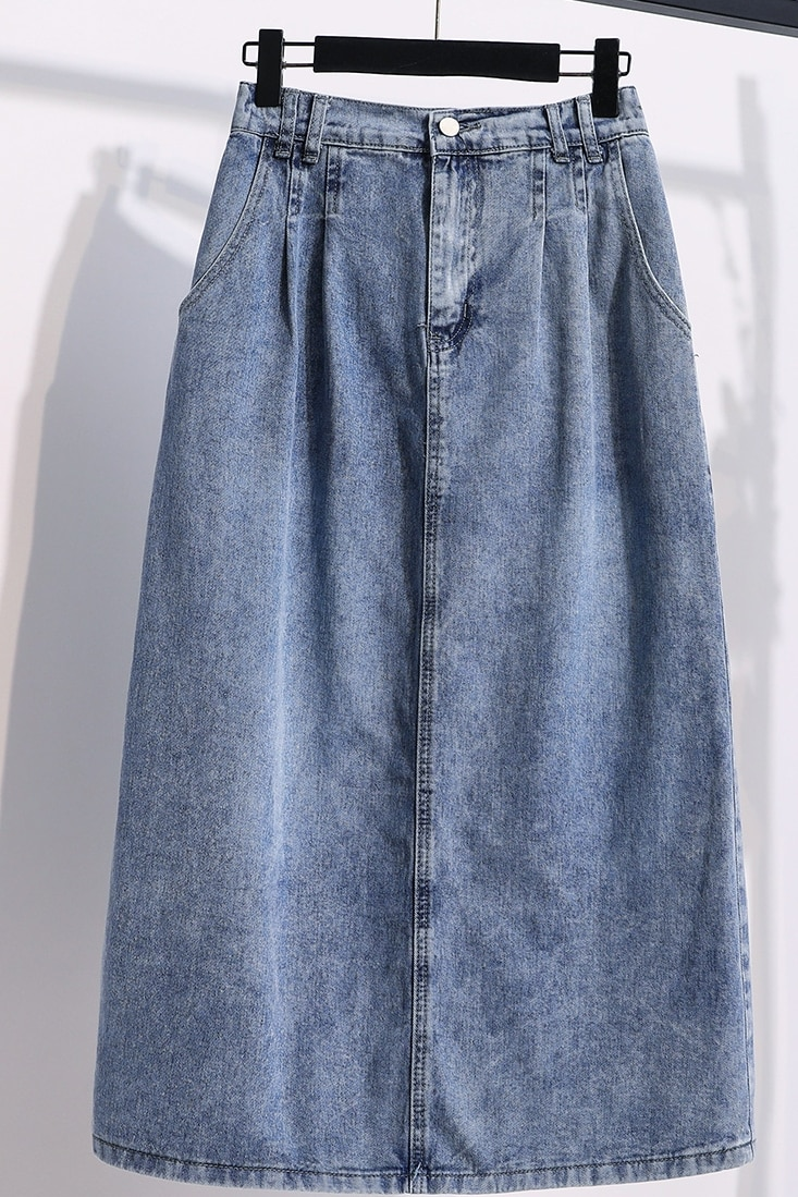 2020 Summer New Korean-Style Denim Skirt Women Elastic High Waist Solid Blue Loose Thin Casual Jeans A Line Midi Skirt Plus Size