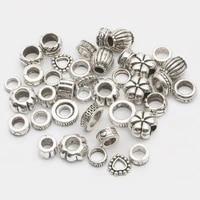 35pcs mix size tibetan antique silver color big hole metal beads for jewelry making diy needlework charm fit bracelet wholesale
