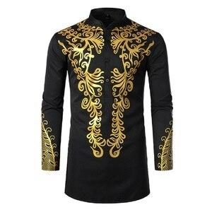 2021 New Men's fashion Islamic gold print totem long shirt Men Casual Shirt Middle Eastern Muslim  Summer  Long Sleeve